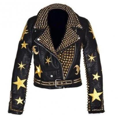 Men Golden Studded Leather JACKET B..