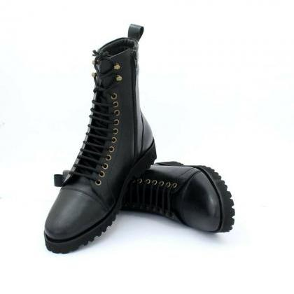 Handmade Men's Side Zipper Lace Up ..