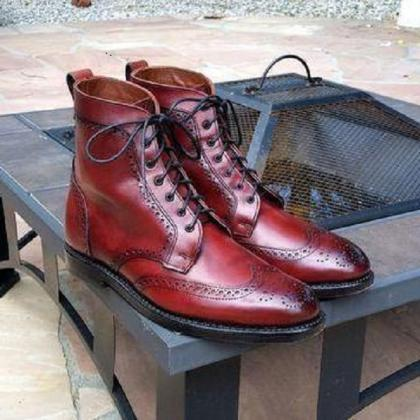 Handmade Burgundy Wing Tip Brogue L..