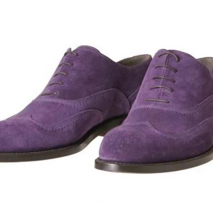 Oxford Suede Purple Wing Tip Brogue..