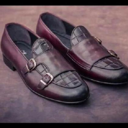 Handmade monkstrap cowhide leather ..