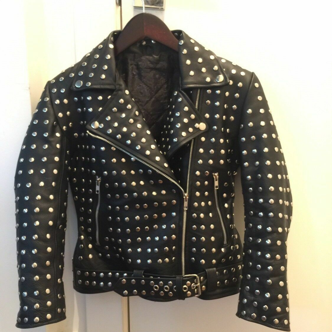 WOMENS FASHION COW HIDE JACKET SILVER STUDDED PUNK STYLE LEATHER BIKER JACKET