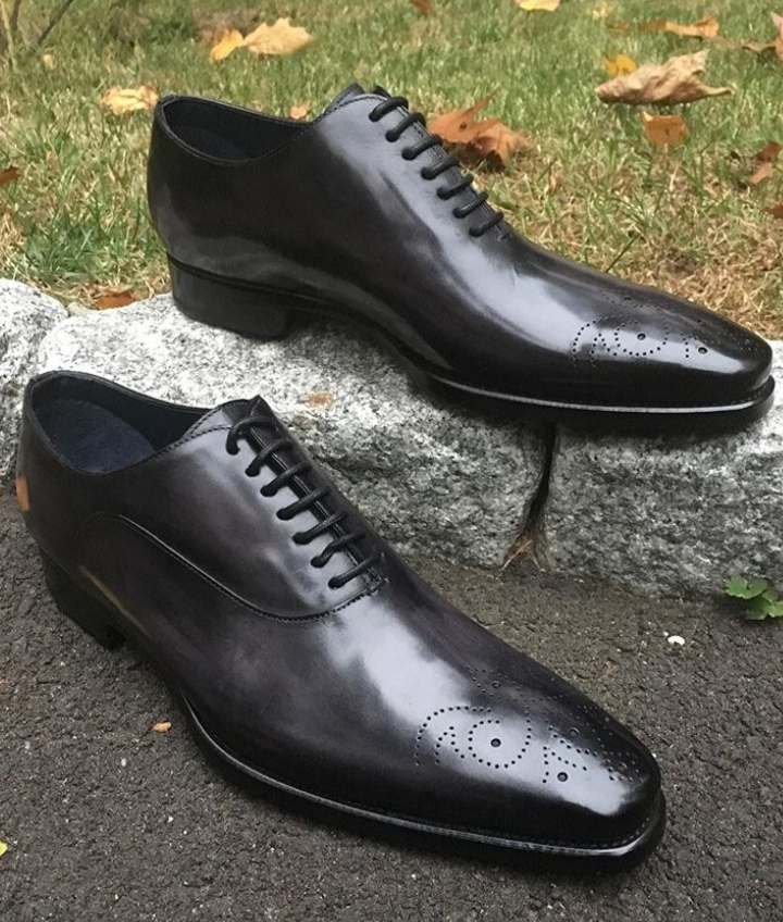 Men New Christmas Black Leather Brogue Shoes Formal Adult Dress up