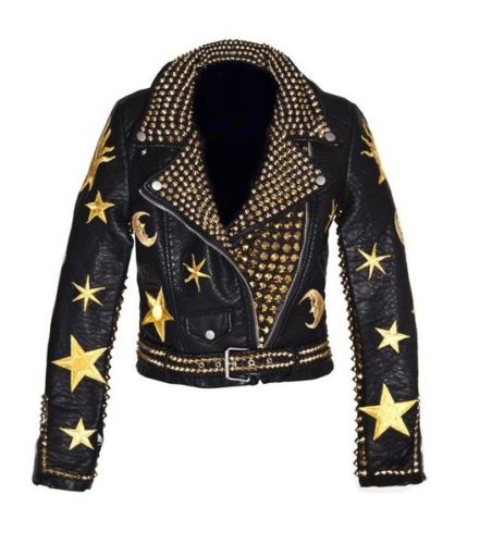 Men Golden Studded Leather JACKET Biker Golden StarsTESTChristmas Party