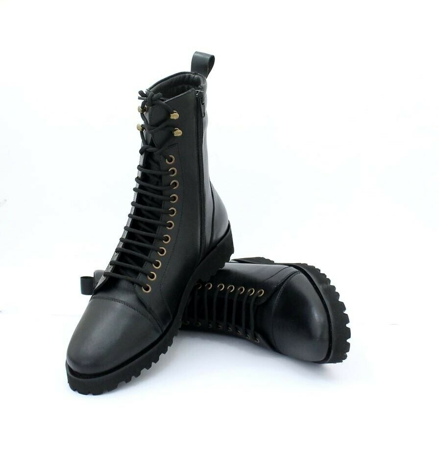 Handmade Men's Side Zipper Lace Up High Ankle Dress Boots, Real Leather Boots