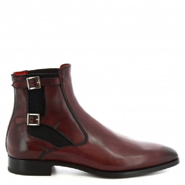 Rounded Double Buckle Strap Chelsea Maroon Genuine Leather Derby Toe Handmade High Ankle Boots