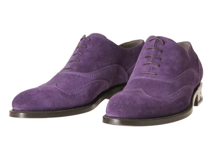 Oxford Suede Purple Wing Tip Brogue Toe Genuine Leather Handmade Lace Up Men's Shoes