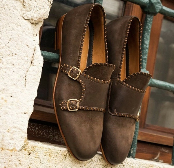 New Pure Handmade Brown Mate Genuine Leather Strap Loafer Shoes for Men