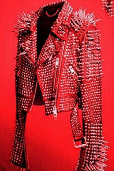 New Mens Full Red Punk Silver Long Spiked Studded Leather Brando Jacket