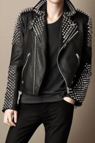 New Mens Black Punk Full Silver Metal Spiked Studded Brando Leather Jacket