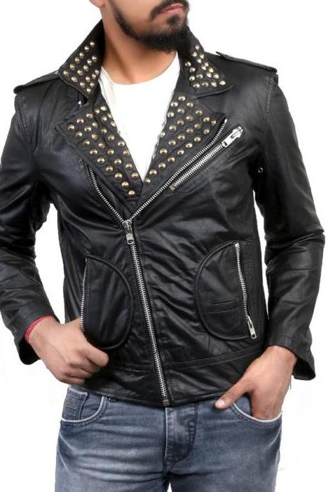 HandMade Men's Black Men Biker Classical Leather Jacket Golden Stud Front Zipper