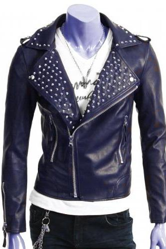 Navy Blue Genuine Real Biker Leather Jacket Silver Studded Brando Style For Men