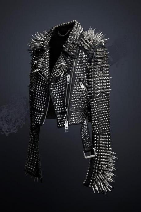 New Mens Full Black Punk Silver Long Spiked Studded Leather Brando Jacket