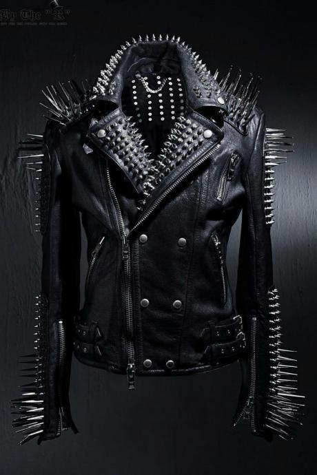 HANDMADE Mens Full Black Punk Silver Long Spiked Studded Leather Buttons Up Jacket Silver Studs and Spikes Black Leather Made to Orders