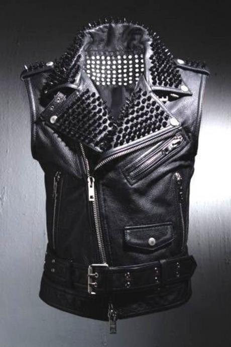 Black Leather VEST Black Studs HANDMADE Men Black Punk Silver Long Spiked Studded Leather Buttons Vest Silver Studs and Spikes Black Leather