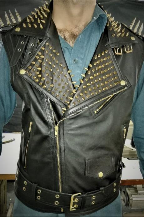 Gold Studded VEST JACKET HANDMADE Men Black Punk Silver Long Spiked Studded Leather Buttons Up Vest Golden Studs and Spikes Black Leather
