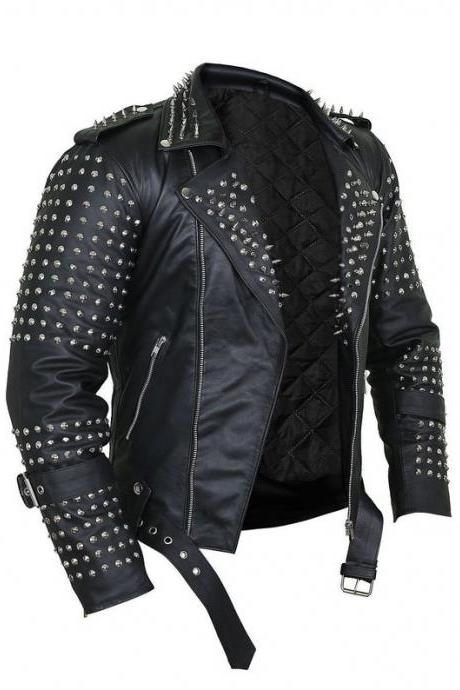 Jacket Men Black Steam Punk Leather With Spikes Decor shoulders, Silver Studded Men Jacket, Dress Men Leather Dress Stud Work Handmade