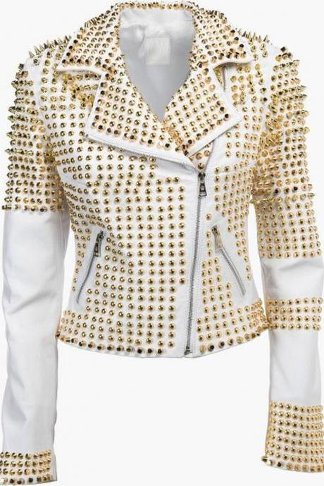 Man White Leather Jacket, Steampunk Clothing Golden Studded Punk Jacket, Men's Biker Jacket, Gold Studs Cowhide Leather, Men Studded Golden