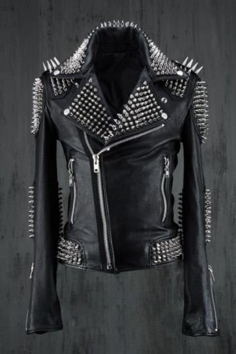 HANDMADE Men Black Punk Silver Long Spiked Studded Leather Buttons Up Jacket Silver Studs and Spikes Black Leather Made to Orders Studs Spike