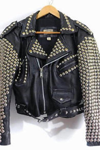 Men's Full Black Brando Punk Silver Spiked Studded Cowhide Leather Jacket Silver Studs Belted Front Zipper Biker Style fashion