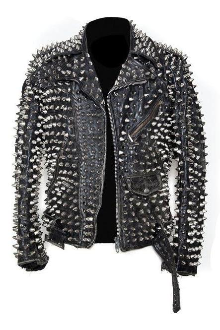 Men Silver Studded Custom Patches Long Spike Brando Belted Rocker Jacket