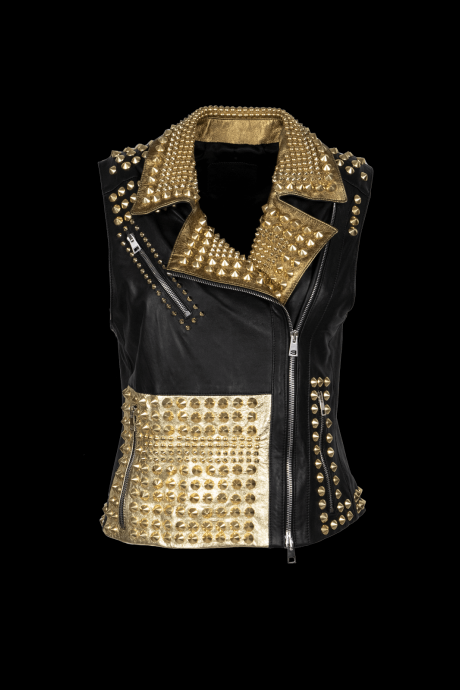 New Men's Philip Plein Full Golden Studded Unique Custom Punk Leather Vest