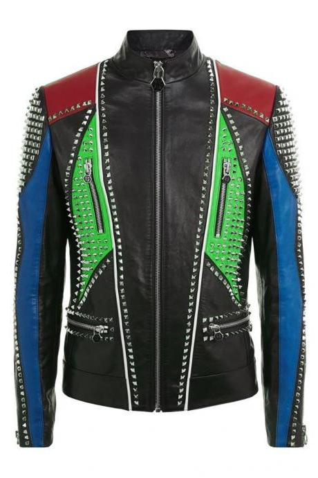 Hand Made Men Multi Color Genuine Biker Leather Jacket Silver Studs Front Zipper