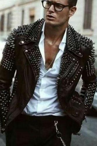 Men real leather studded jacket, men party wear stylish jacket, biker studs mens