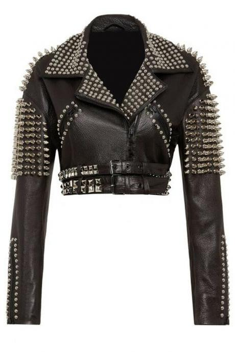 New Women Silver Spiked Studded Punk Biker Leather Jacket Your Name Christmas