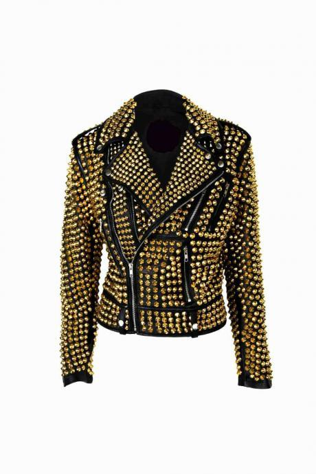 Luxury Woman Black Punk Golden Studded Cowhide Leather Jacket XS TO 6XL