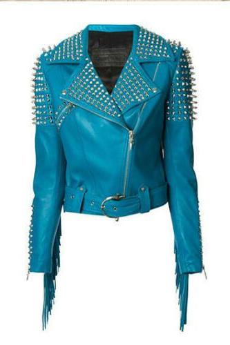 New Woman Full Blue Punk Brando Spiked Studded Leather Jacket Fringes XS TO 6XL