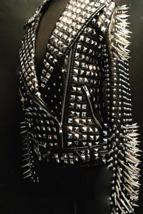 New Mens&Woman Full Black Punk Silver Long Spiked Studded Leather Brando Jacket