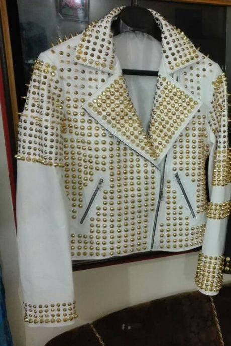 New Woman White Golden Full Studded Leather Jacket, Women fashion jackets