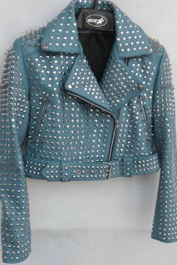 Blue Color Women Genuine Biker Leather Jacket Full Silver Studded Belted Waist