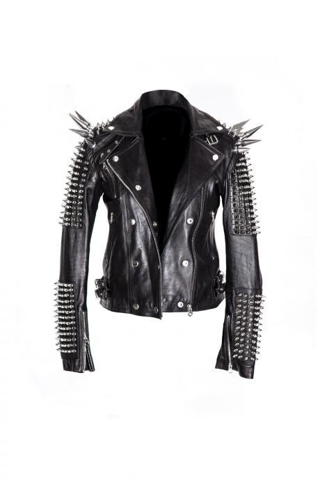 Black Women Elegant Real Leather Jacket Long Spiked Silver Studded Punk Style