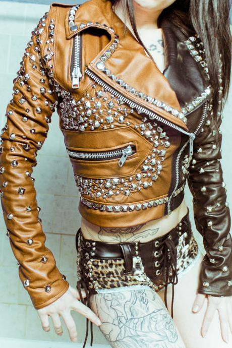 Two Tone Brown Orange Genuine Biker Leather Jacket Silver Studded For Women