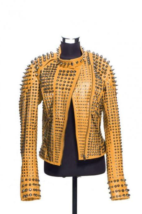 Women Orange Color Classical Real Leather Jacket Full Spiked Silver Studded