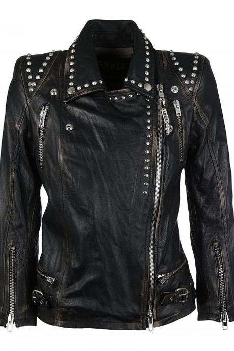 Hand Crafted Women Black Biker Real Leather Jacket Silver Studded Front Zipper
