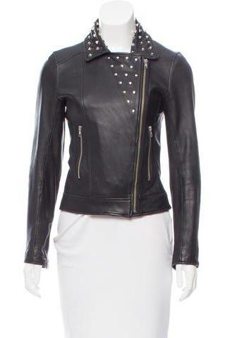 Hand Made Women Black Casual Real Leather Jacket Silver Studded Front Zipper
