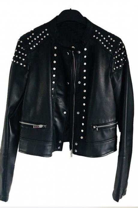 New Handmade Black Studded Cafe Racer Leather Jacket, women zipper Jacket, Studs