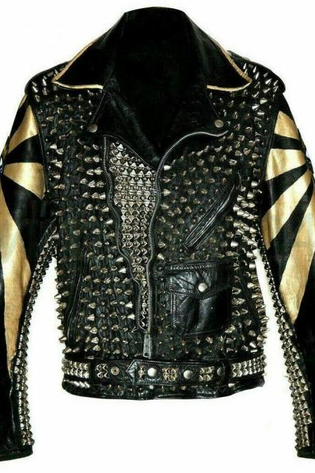 New Mens Electric Eye Punk Full Silver Spiked Studded Brando Leather Jacket