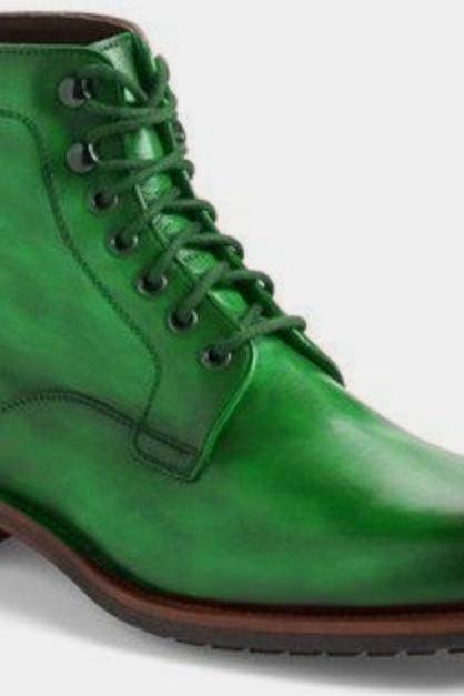 Custom Men Green Leather Formal Rubber Sole Hiking Boot