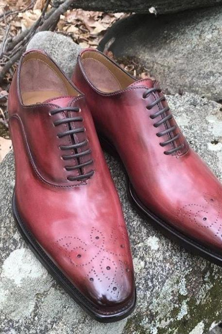 Hand Craft Men Christmas Sale Burgundy Tone Brogue Lace Shoe