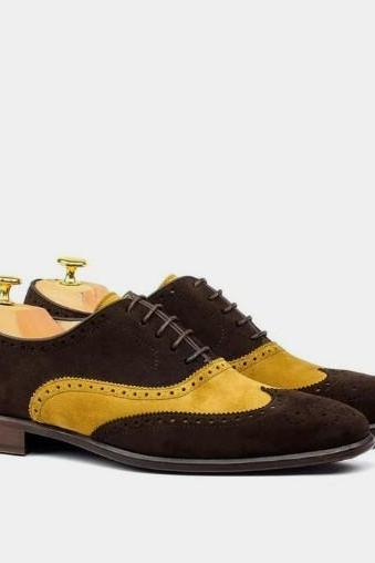 Customize Handmade New Men Camel Brown Suede Lace Up Wing Casual Shoes
