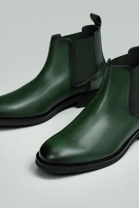 Decent men Formal Hiking Traveling Green Leather Ankle Chelsea Boot