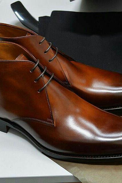 New Handmade Men Brown Black Tone Leather Chukka Lace Up Boot, Chukka Boot Collection