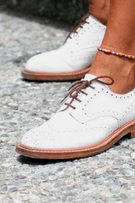 Men's New Cow White Leather Oxford Brogue Wingtip Handmade Lace Up Shoes Fashion Formal Wedding Shoes