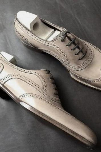 Awesome Gray Leather Finishing Wing tip Leather Shoes