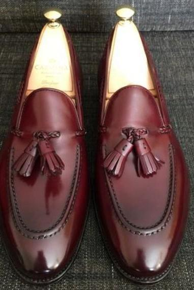 Handmade New Men Elegant Burgundy Leather Tassels Formal Loafer Shoes