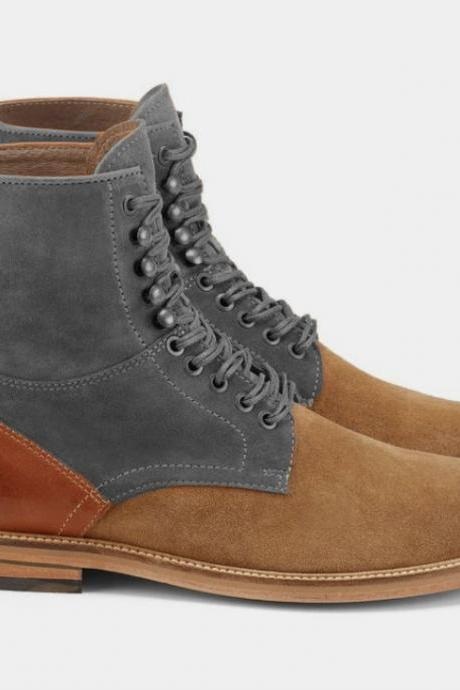 New Men Best Selling Beige Suede Ankle Lace Up Military Boot, New Men Outerwear Boot,Vintage Boot